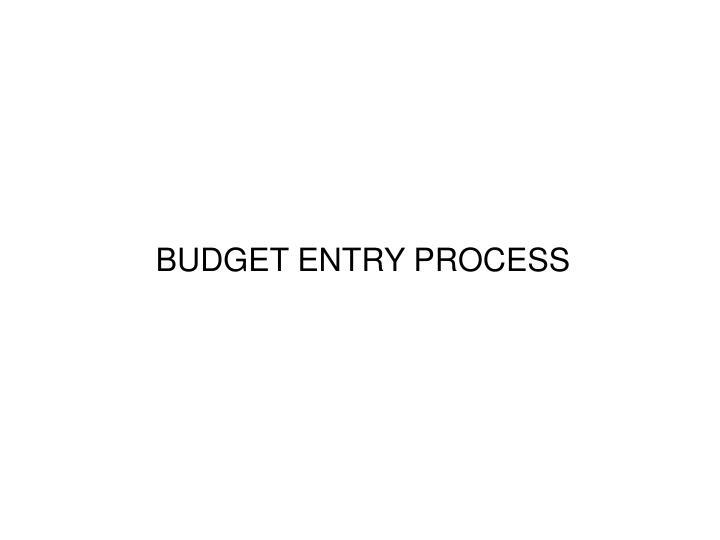 BUDGET ENTRY PROCESS