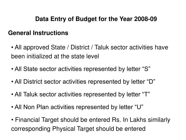 Data Entry of Budget for the Year 2008-09