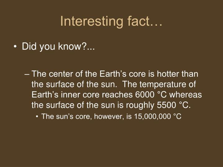 Interesting fact…