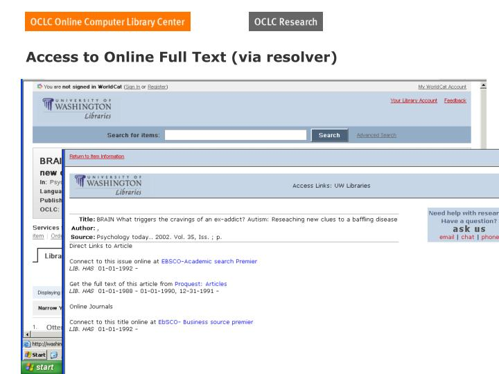 Access to Online Full Text (via resolver)