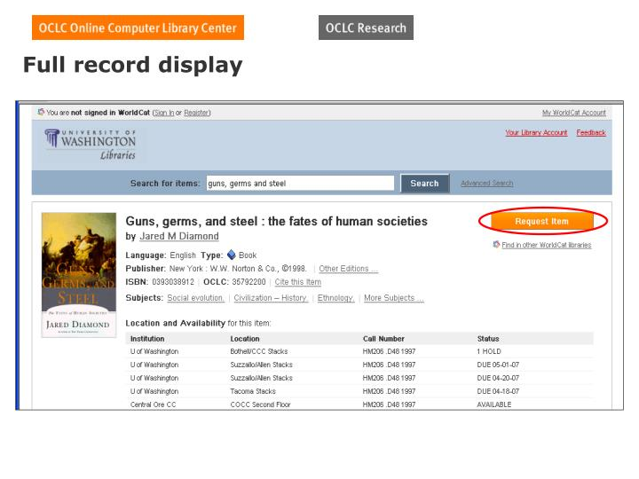 Full record display