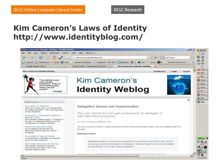 Kim Cameron's Laws of Identity