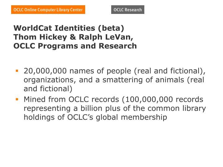 WorldCat Identities (beta)