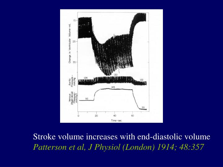 Stroke volume increases with end-diastolic volume