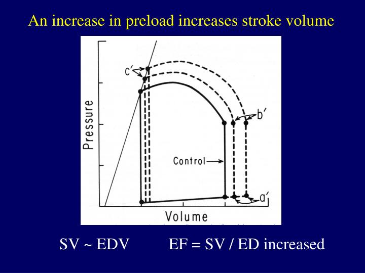 An increase in preload increases stroke volume
