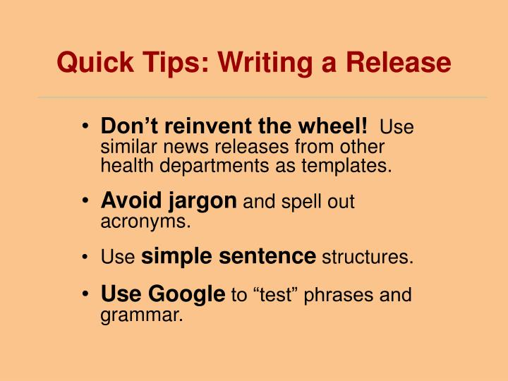 Quick Tips: Writing a Release