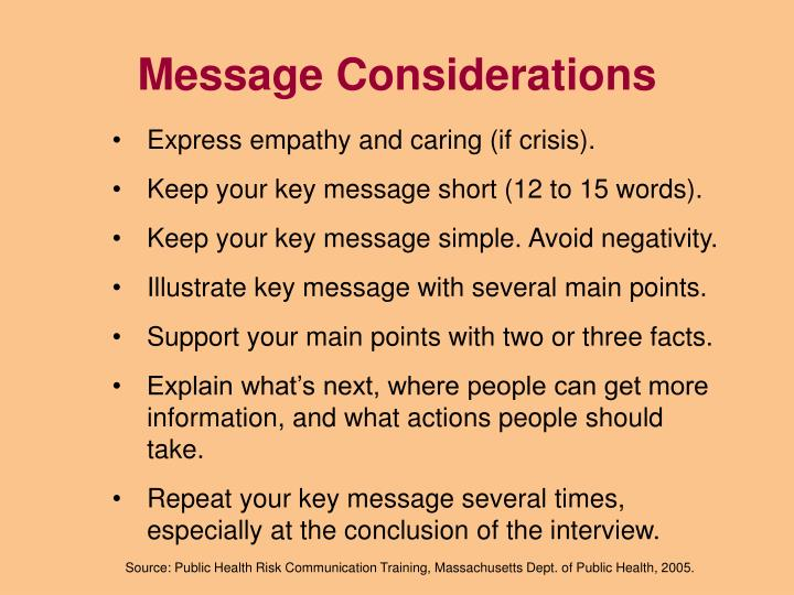 Message Considerations