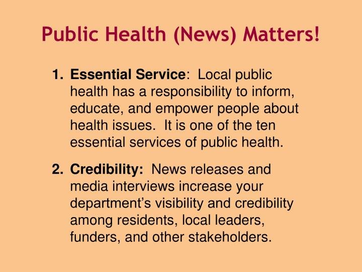 Public Health (News) Matters!