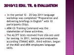 2010 12 edu tr evaluation