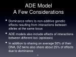 ade model a few considerations