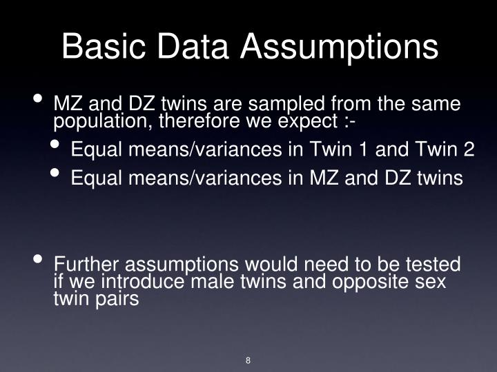 Basic Data Assumptions