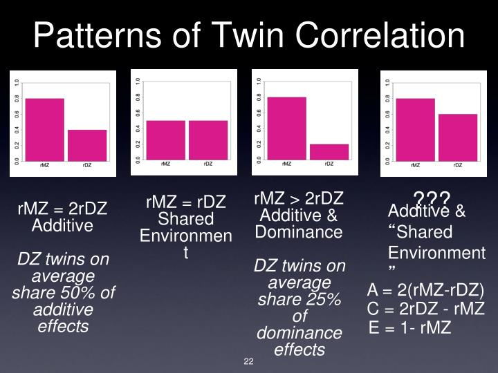 Patterns of Twin Correlation