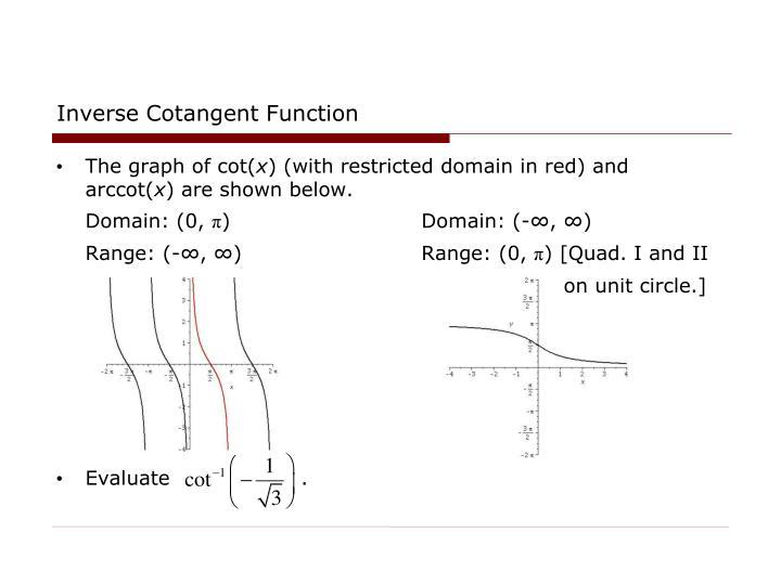 Inverse Cotangent Function