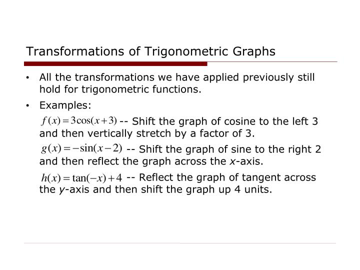 Transformations of Trigonometric Graphs