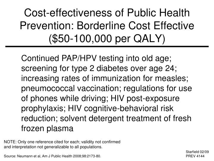 Cost-effectiveness of Public Health Prevention: Borderline Cost Effective ($50-100,000 per QALY)
