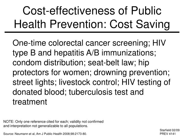 Cost-effectiveness of Public Health Prevention: Cost Saving