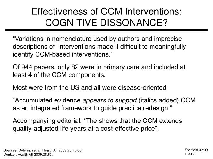 Effectiveness of CCM Interventions: COGNITIVE DISSONANCE?