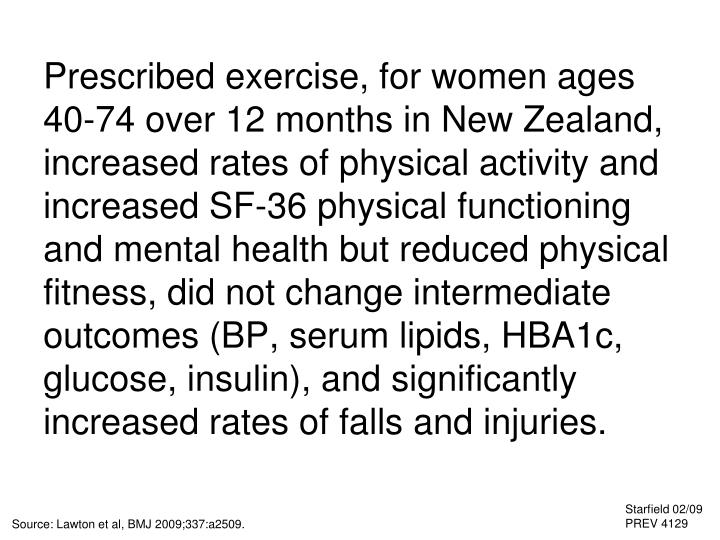 Prescribed exercise, for women ages 40-74 over 12 months in New Zealand, increased rates of physical activity and increased SF-36 physical functioning and mental health but reduced physical fitness, did not change intermediate outcomes (BP, serum lipids, HBA1c, glucose, insulin), and significantly increased rates of falls and injuries.