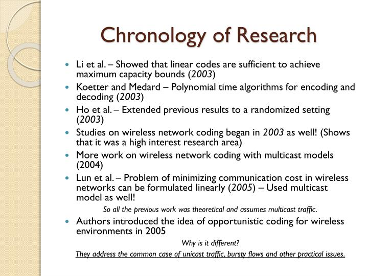 Chronology of Research