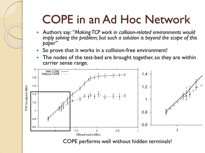 COPE in an Ad Hoc Network