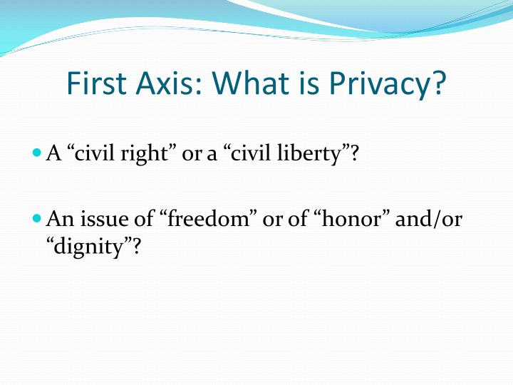 First Axis: What is Privacy?