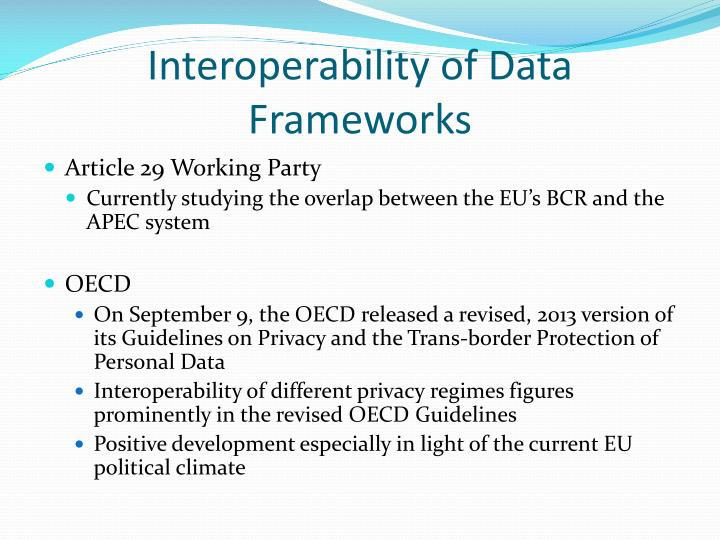 Interoperability of Data Frameworks