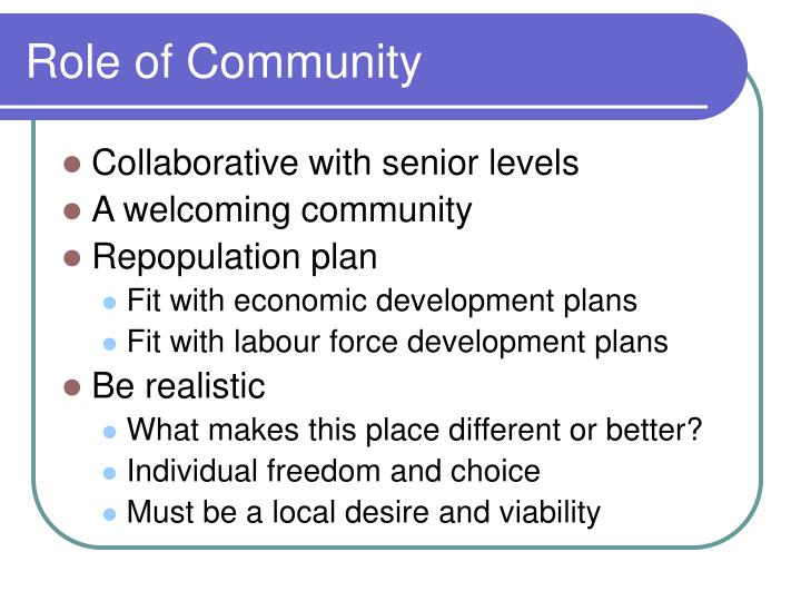 Role of Community