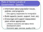role of senior levels of government specific