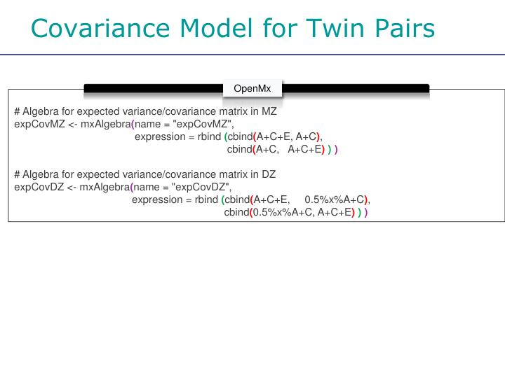 Covariance Model for Twin Pairs
