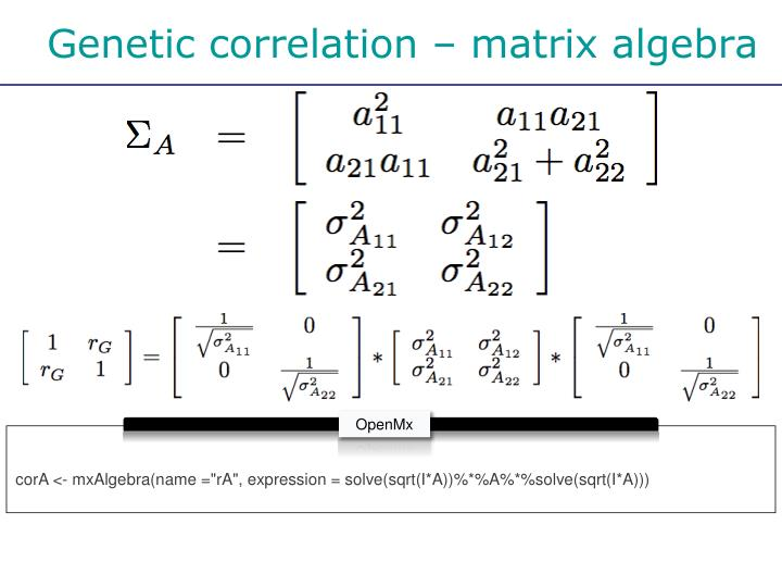 Genetic correlation – matrix algebra