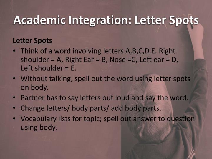 Academic Integration: Letter Spots