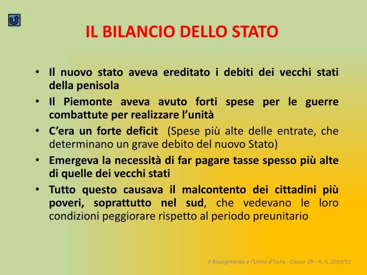 IL BILANCIO DELLO STATO