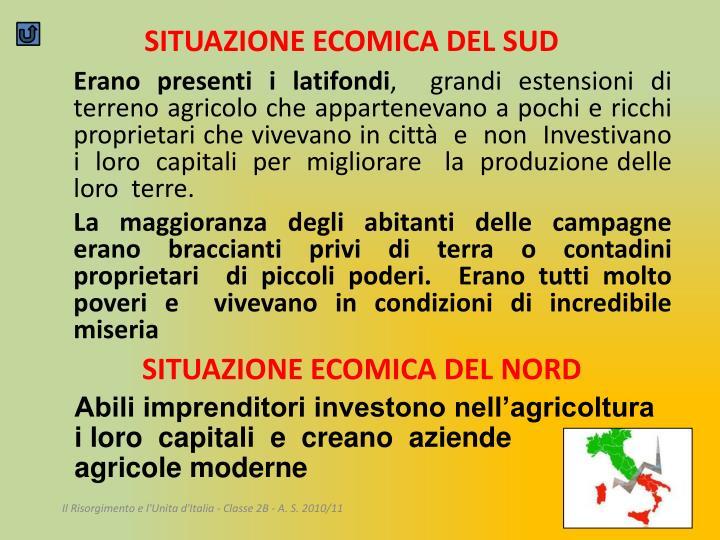 SITUAZIONE ECOMICA DEL SUD
