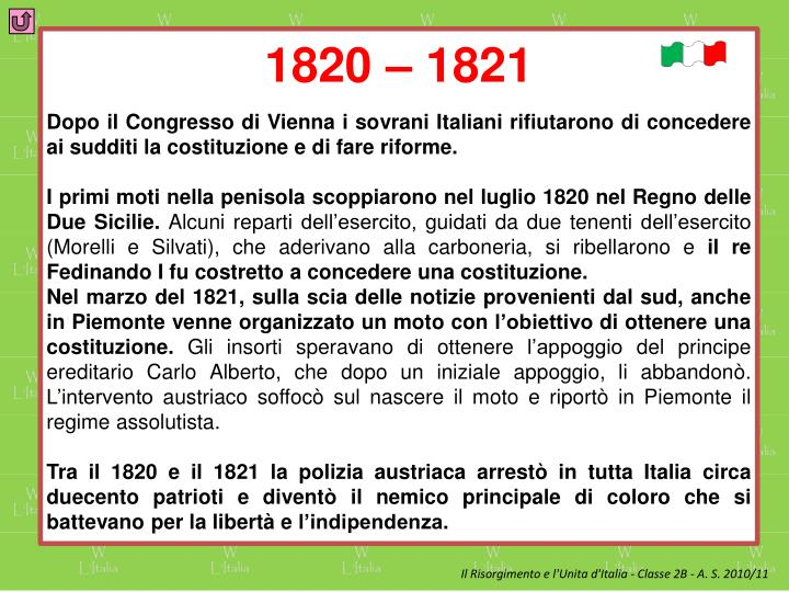 1820 – 1821