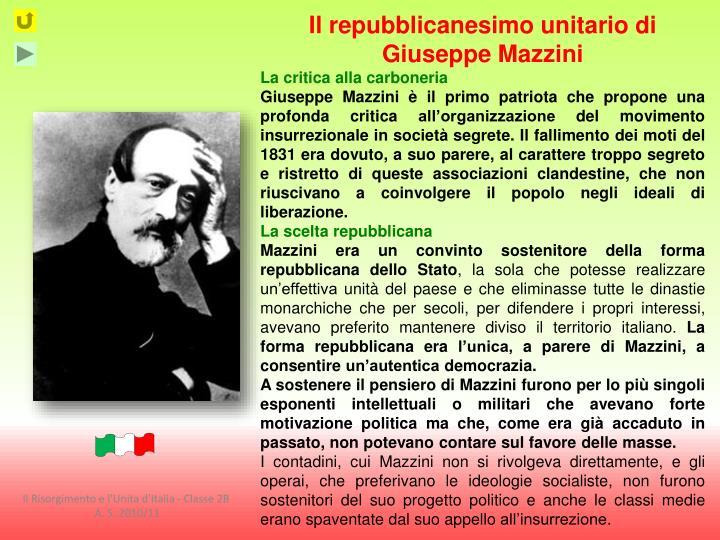 Il repubblicanesimo unitario di Giuseppe Mazzini
