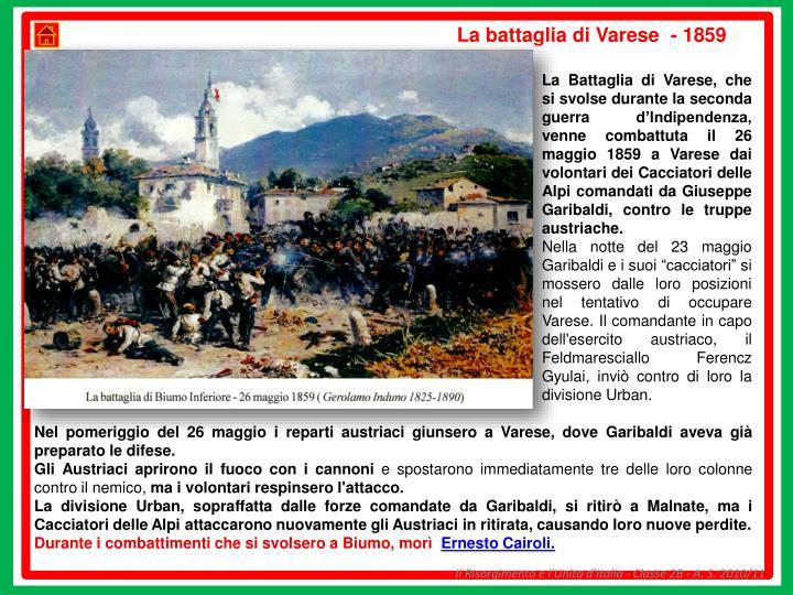 La battaglia di Varese  - 1859