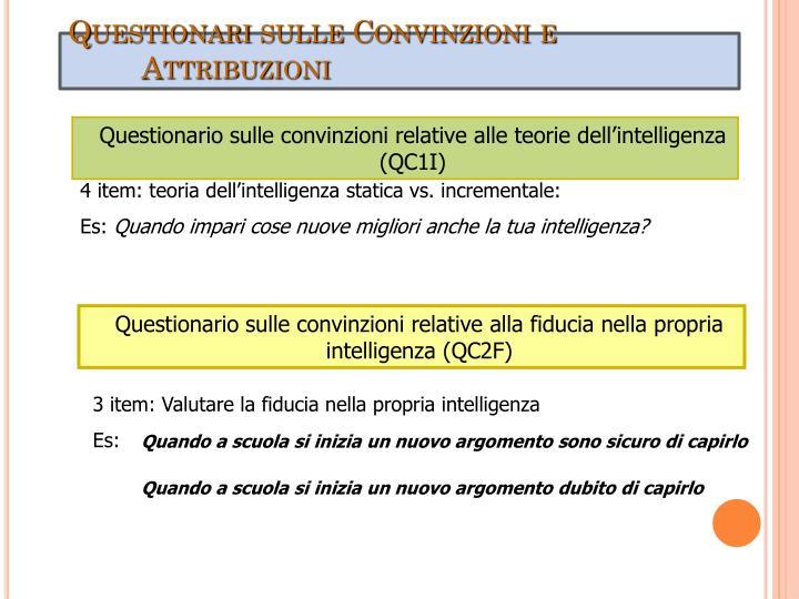Questionari sulle Convinzioni e Attribuzioni
