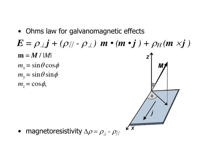 Ohms law for galvanomagnetic effects