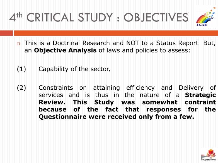 4 th critical study objectives