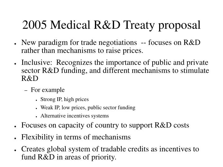 2005 Medical R&D Treaty proposal