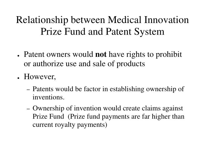 Relationship between Medical Innovation Prize Fund and Patent System