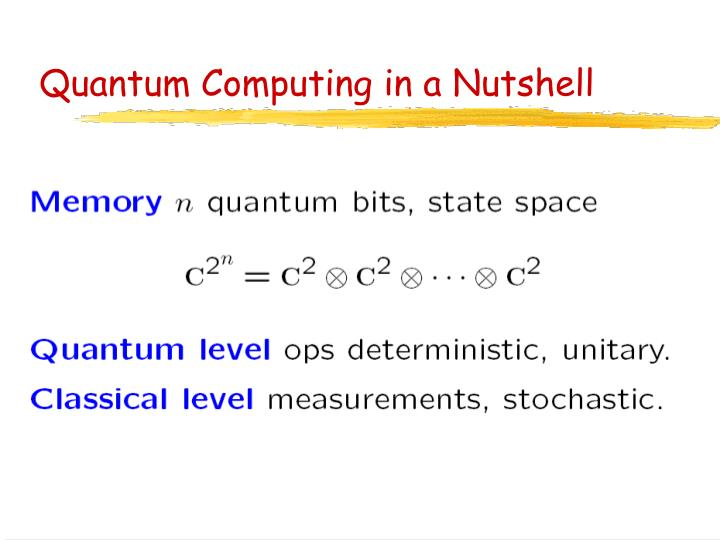 Quantum Computing in a Nutshell