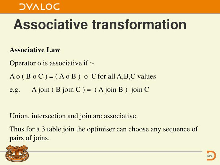 Associative transformation