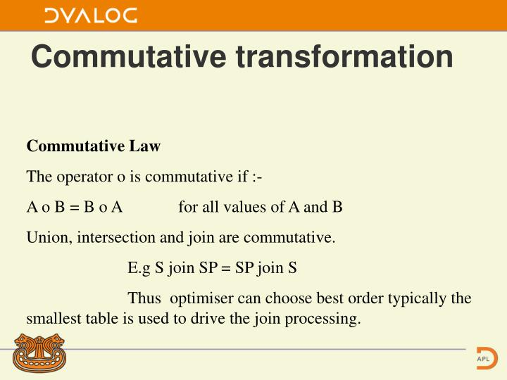 Commutative transformation