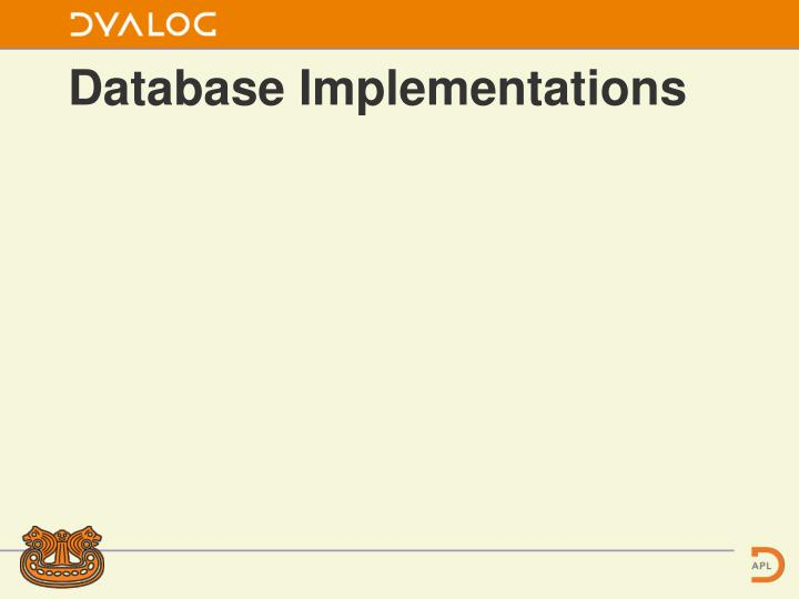 Database Implementations