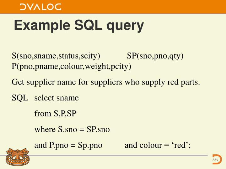 Example SQL query