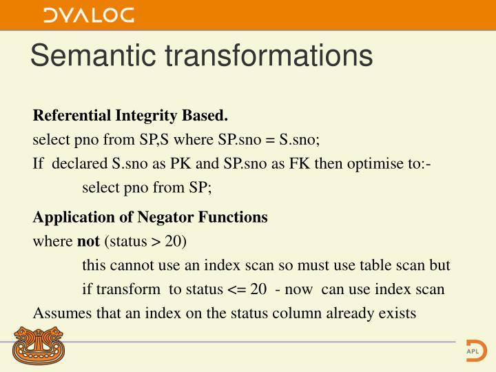 Semantic transformations