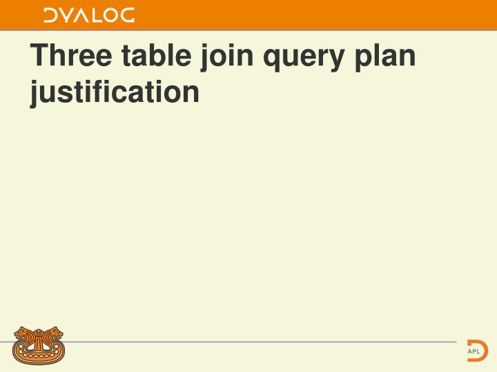 Three table join query plan justification