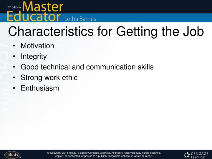 Characteristics for Getting the Job