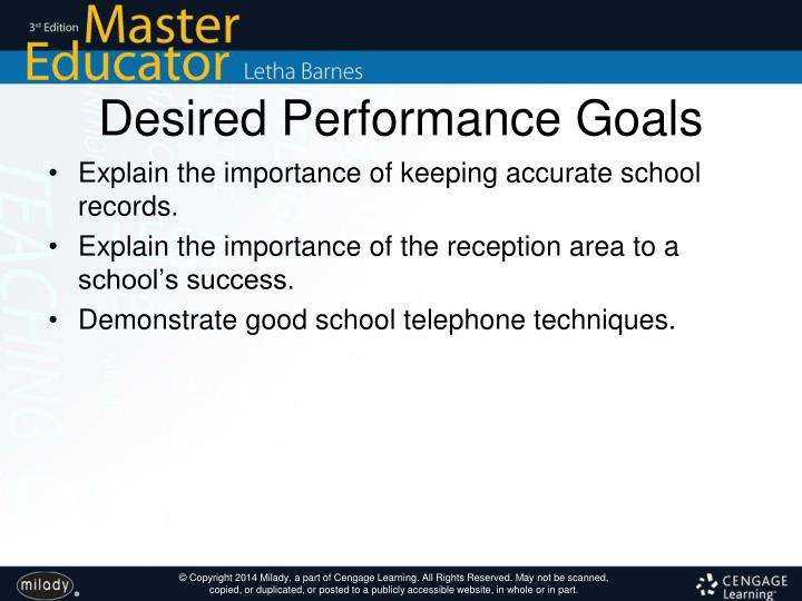 Desired Performance Goals